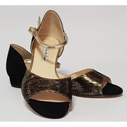 Belen - Black Suede and Gold Leather 15-Paso de Fuego- Axis Tango - Best Tango Shoes