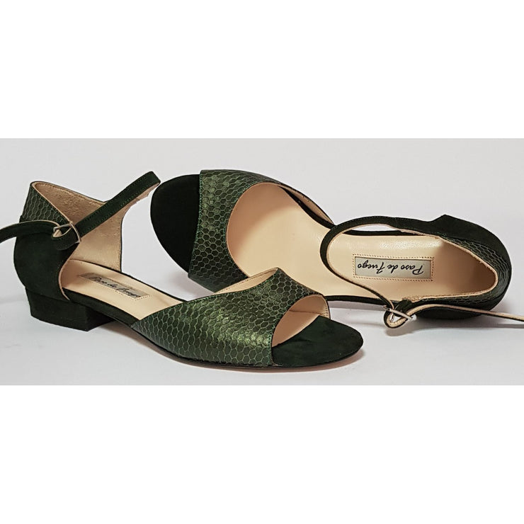 Belen - Green Suede and Stamped Leather 15-Paso de Fuego- Axis Tango - Best Tango Shoes