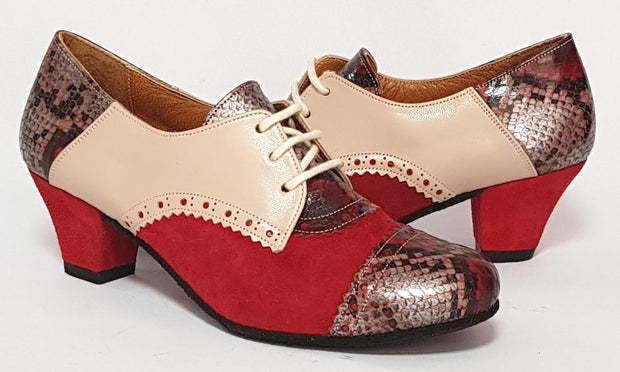 Frontera - Red And Beige-Paso de Fuego- Axis Tango - Best Tango Shoes