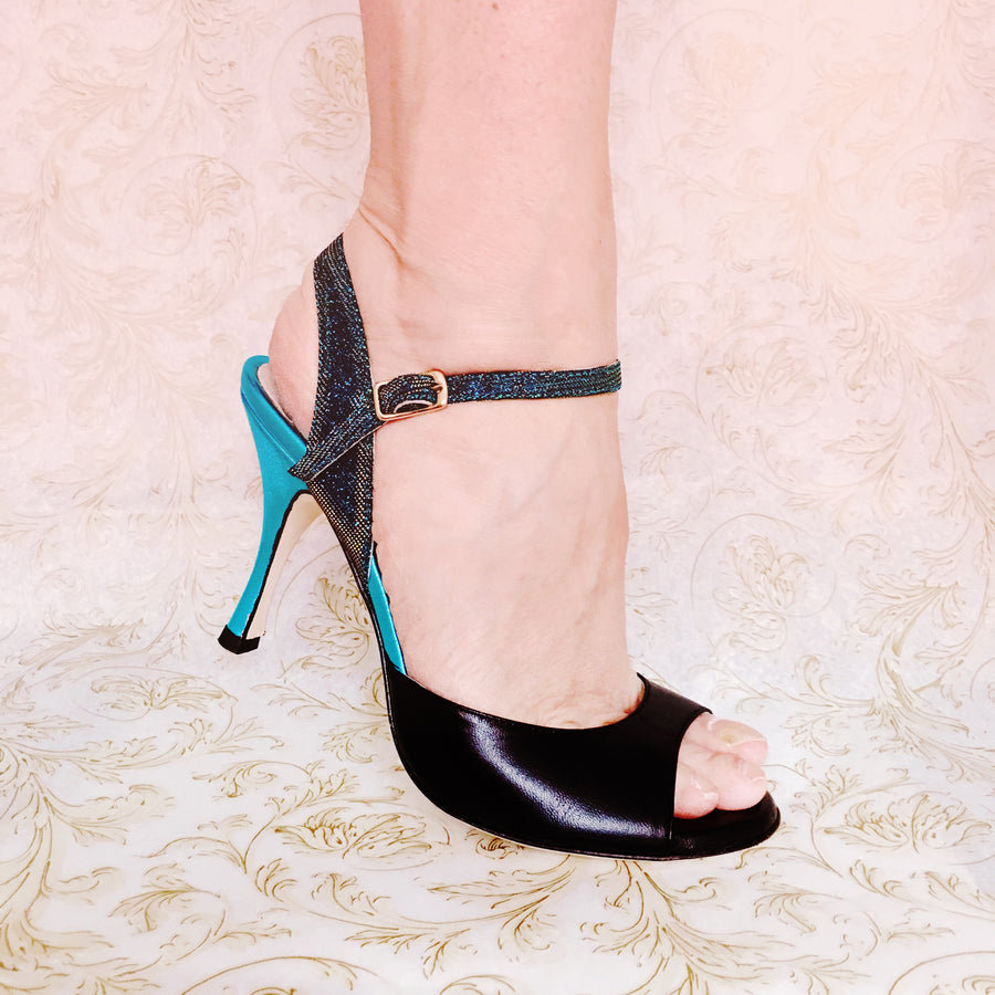 Enna - Black & Turquoise Leather (8cm)