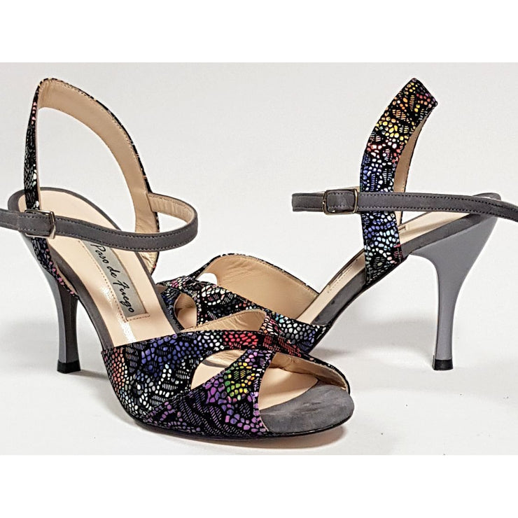 Palmira - Gray Suede And Multicolor Leather 50, 60, 70, 80-Paso de Fuego- Axis Tango - Best Tango Shoes
