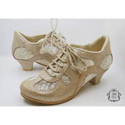 Rocio - Platinum Leather With Floral Lace 50-DNI- Axis Tango - Best Tango Shoes
