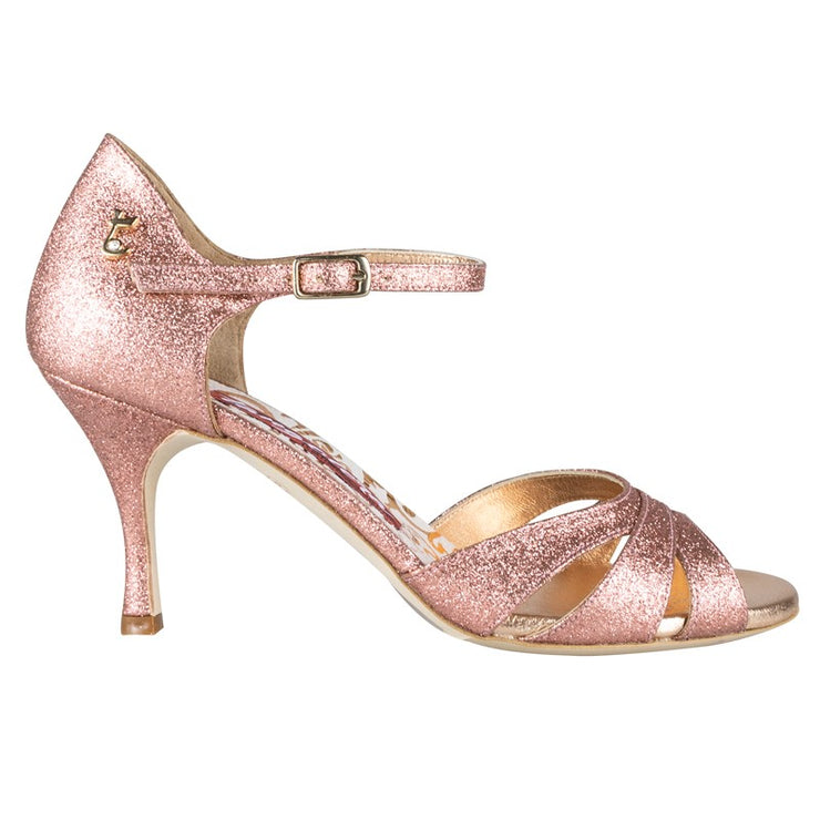 Biella - Rose Copper Glitter 70, 90-Tangolera- Axis Tango - Best Tango Shoes