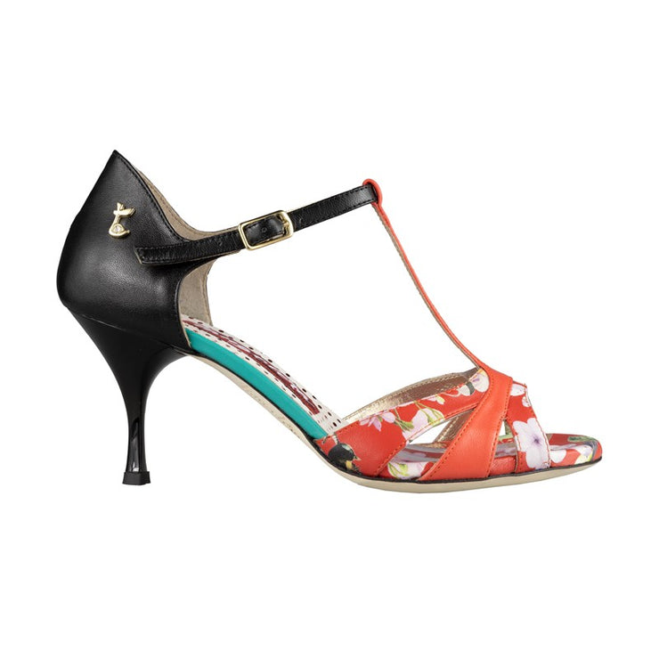 Biella New - Black & Coral Leather (7cm)