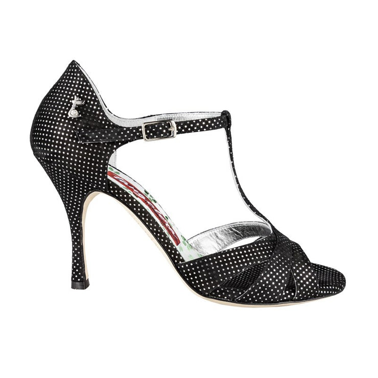 Biella New - Black Suede & Silver Dots 90 | Axis Tango - Best Tango Shoes