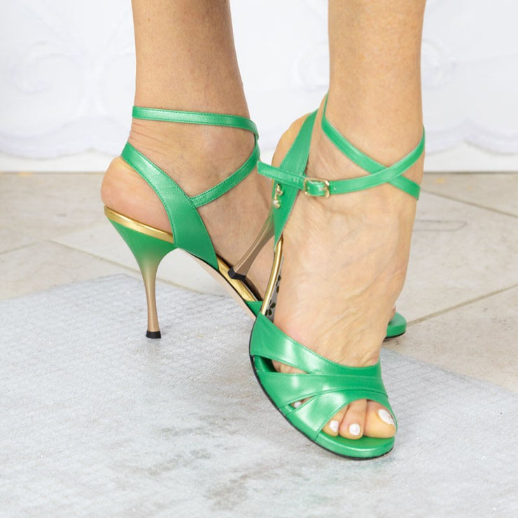 Novara CL - Pearlized Green Leather (8cm) | Axis Tango - Best Tango Shoes