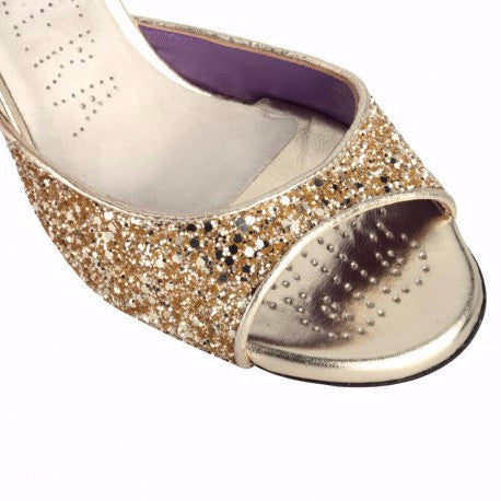 Enna - Platinum Glitter (9cm) by Bandolera (now Tangolera) - Imported from Italy, Argentina and beyond: best tango shoes and tango apparel. Beautiful, comfortable, premium quality!