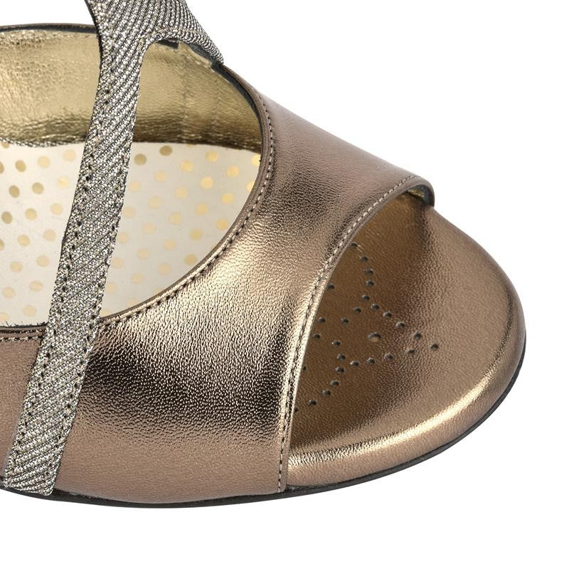 Messina - Iridescent Bronze Metallic Leather (9cm) by Bandolera (now Tangolera) - Imported from Italy, Argentina and beyond: best tango shoes and tango apparel. Beautiful, comfortable, premium quality!