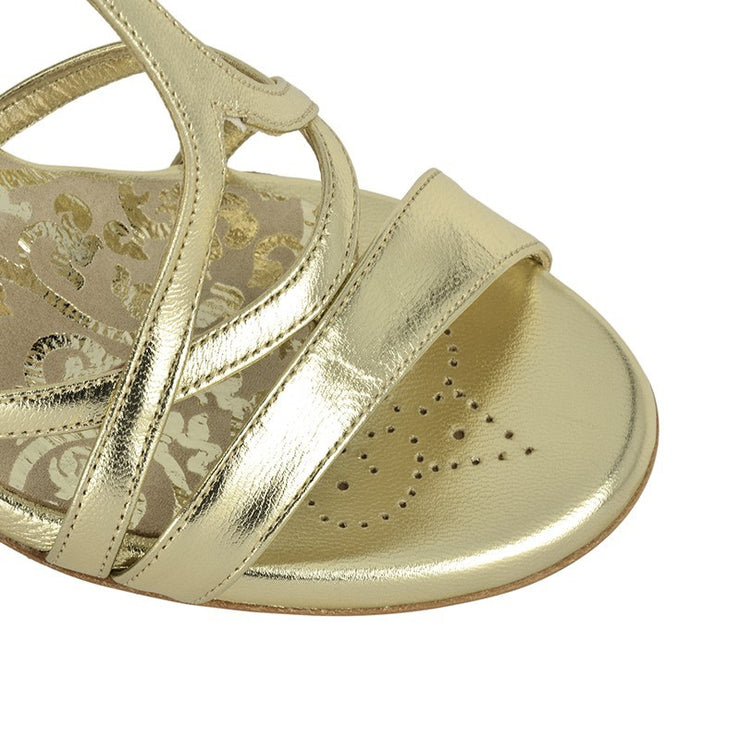 Bari - Platinum Metallic Leather 70, 90-Tangolera- Axis Tango - Best Tango Shoes