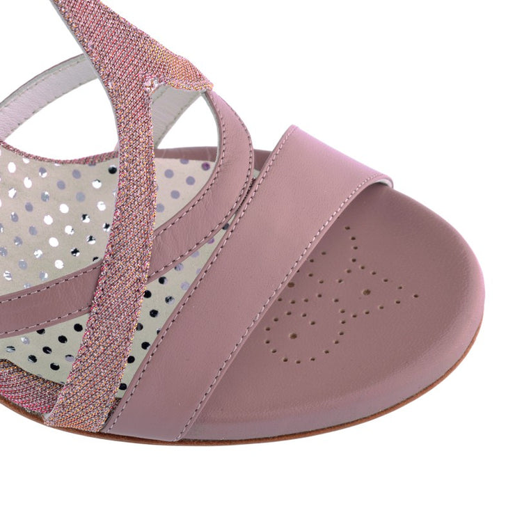 Bari - Mauve Leather and Textile (7cm) by Bandolera (now Tangolera) - Imported from Italy, Argentina and beyond: best tango shoes and tango apparel. Beautiful, comfortable, premium quality!