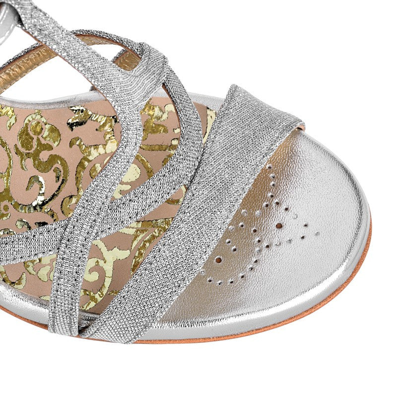 Como - Silver Textile (9cm) by Bandolera (now Tangolera) - Imported from Italy, Argentina and beyond: best tango shoes and tango apparel. Beautiful, comfortable, premium quality!