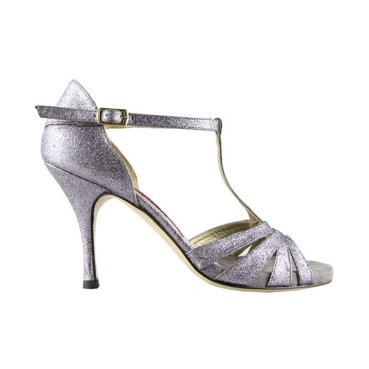 Catania CY - Steel Grey Microglitter (9cm) | Axis Tango - Best Tango Shoes