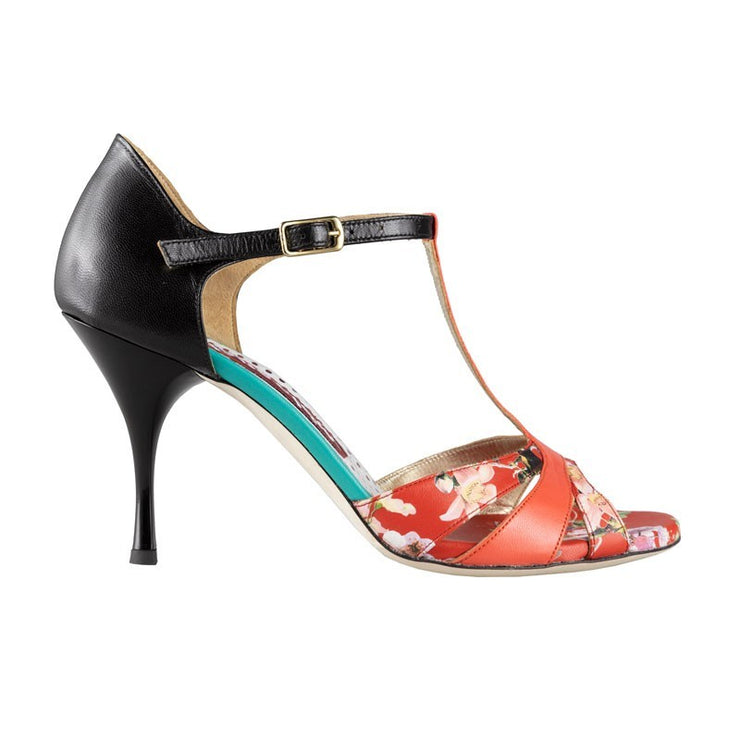 Biella New - Black & Coral Leather 70, 90-Tangolera- Axis Tango - Best Tango Shoes