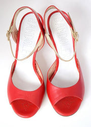 Asti - Red Nappa Leather (8cm) by Bandolera (now Tangolera) - Imported from Italy, Argentina and beyond: best tango shoes and tango apparel. Beautiful, comfortable, premium quality!