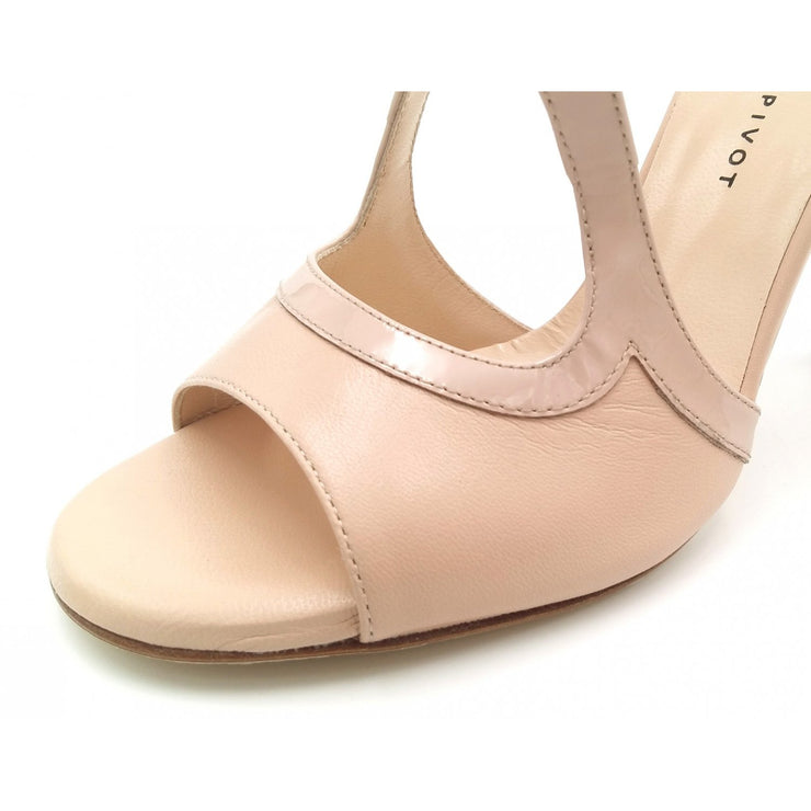 Giada Open - Neutral Leather with Patent Leather Accent (7cm, 8cm, 8.5cm) | Axis Tango - Best Tango Shoes