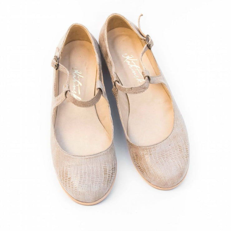 Nilla - Beige Stamped Leather | Axis Tango - Best Tango Shoes