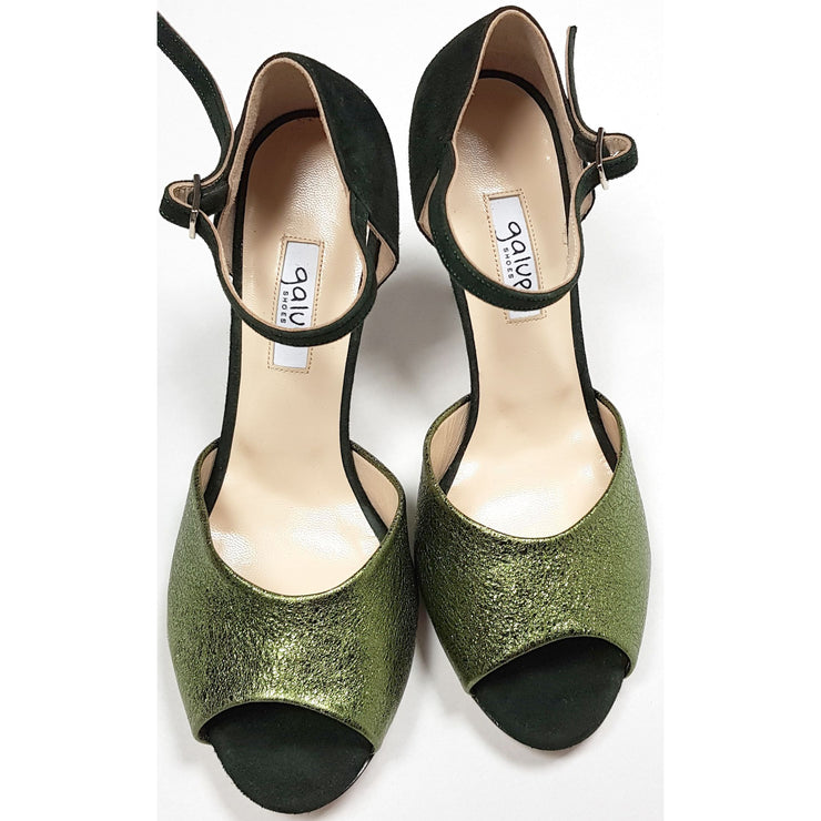 Belen - Deep Green Suede and Emerald Green Leather 50, 60, 70, 80-Galupi- Axis Tango - Best Tango Shoes