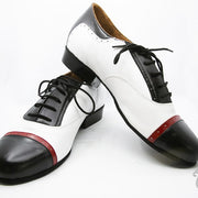 Clasico - Black And White Leather With Bordeaux Detail-DNI- Axis Tango - Best Tango Shoes