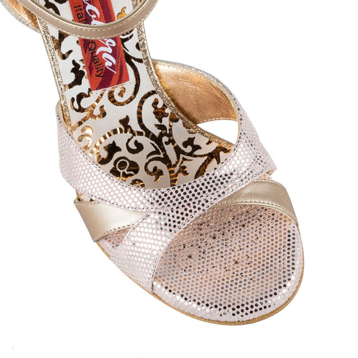 Pavia - Blush Rose Dotted Leather (8cm) | Axis Tango - Best Tango Shoes