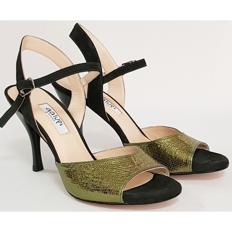 Corrientes - Green Leather and Deep Green Suede 50, 60, 70, 80-Galupi- Axis Tango - Best Tango Shoes