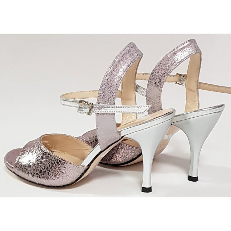 Corrientes - Silver and Pewter Stamped Leather 50, 60, 70, 80-Galupi- Axis Tango - Best Tango Shoes