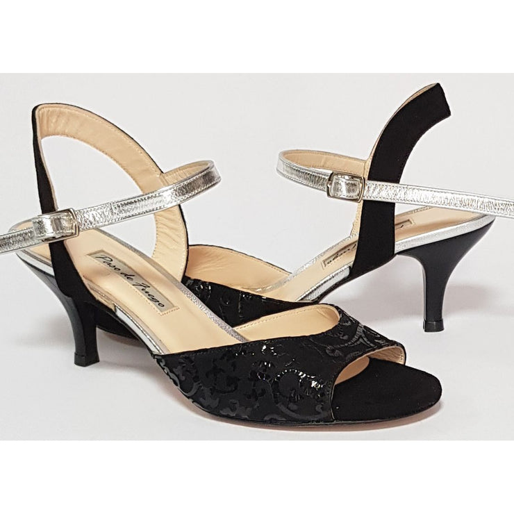 Corrientes - Black Suede Lace With Silver 50, 60, 70, 80-Paso de Fuego- Axis Tango - Best Tango Shoes