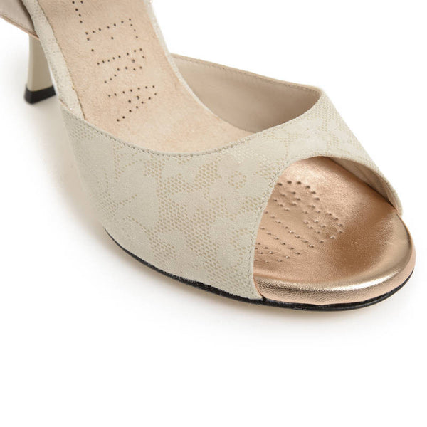 Enna CL - Beige Suede & Metallic Leather (7cm)