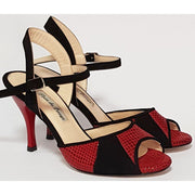 Dolores - Black Suede With Red Leather 50, 60, 70, 80-Paso de Fuego- Axis Tango - Best Tango Shoes
