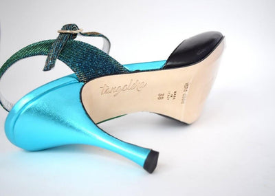 Enna - Black & Turquoise Leather (8cm) by Bandolera (now Tangolera) - Imported from Italy, Argentina and beyond: best tango shoes and tango apparel. Beautiful, comfortable, premium quality!