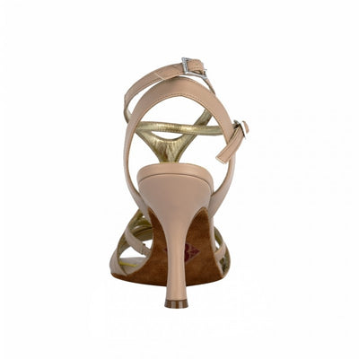 Bari BIS - Nude Leather (8cm) by Bandolera (now Tangolera) - Imported from Italy, Argentina and beyond: best tango shoes and tango apparel. Beautiful, comfortable, premium quality!