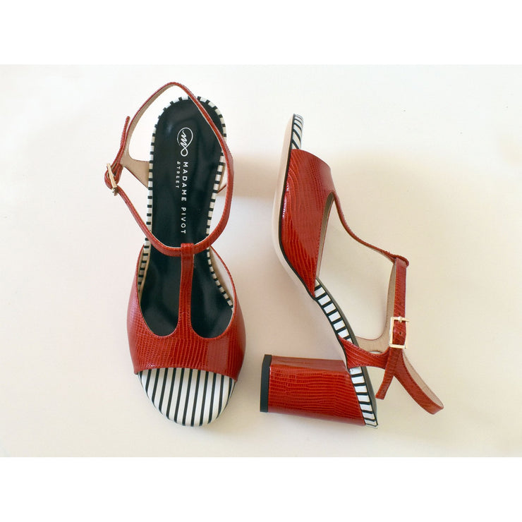 Fedra Street - Red Leather 75-Madame Pivot- Axis Tango - Best Tango Shoes