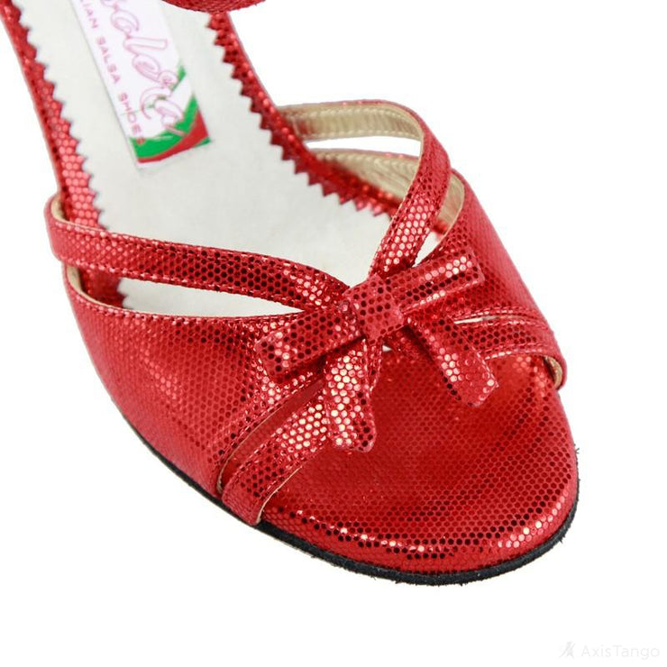 Flora - Red Stamped Leather (7cm) | Axis Tango - Best Tango Shoes