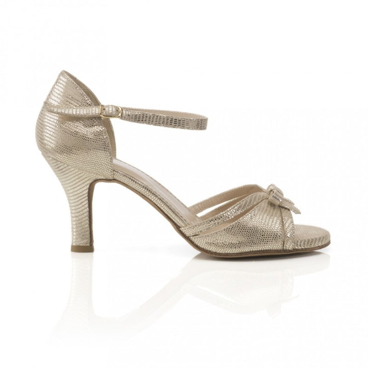 Flora - Bronze Gold Stamped Leather (7cm) | Axis Tango - Best Tango Shoes