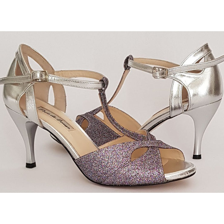 Miramar T - Silver Leather and Pewter Glitter | Axis Tango - Best Tango Shoes