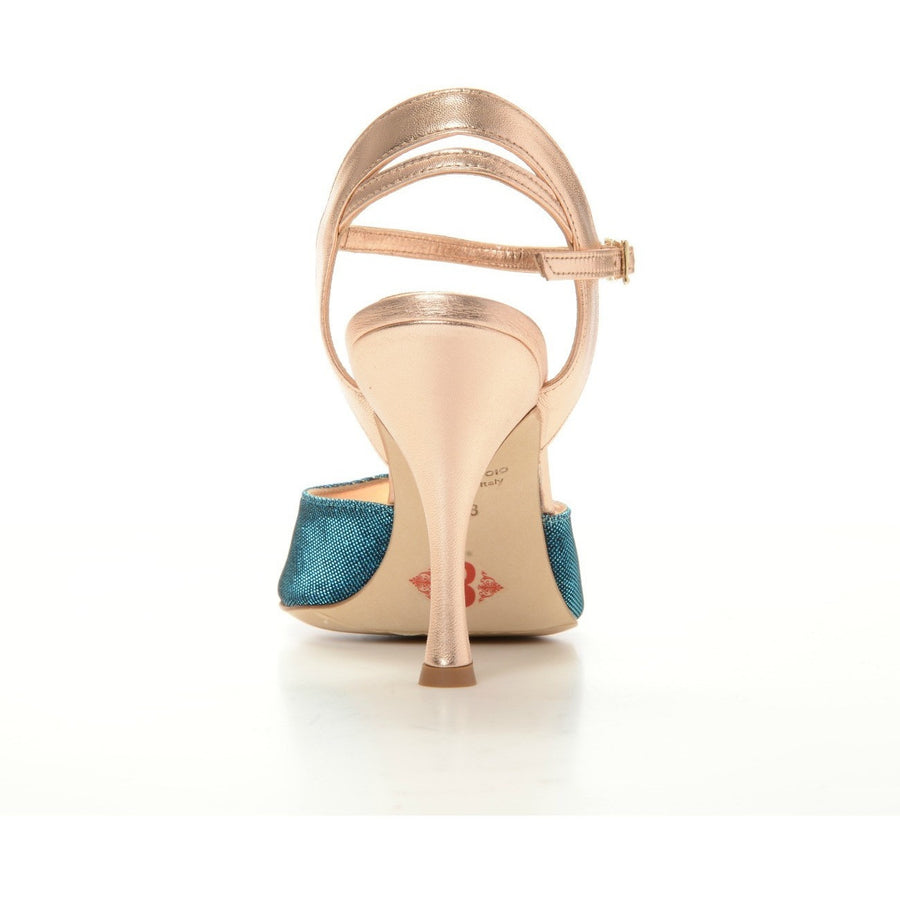 Asti - Turquoise Textile and Metallic Leather (9cm) by Bandolera (now Tangolera) - Imported from Italy, Argentina and beyond: best tango shoes and tango apparel. Beautiful, comfortable, premium quality!