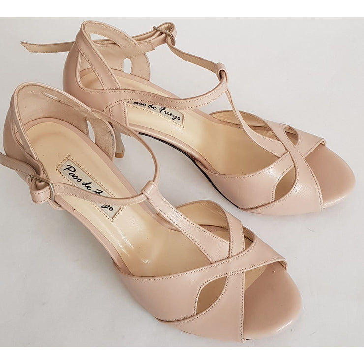 Miramar T - Nude Napa Leather | Axis Tango - Best Tango Shoes