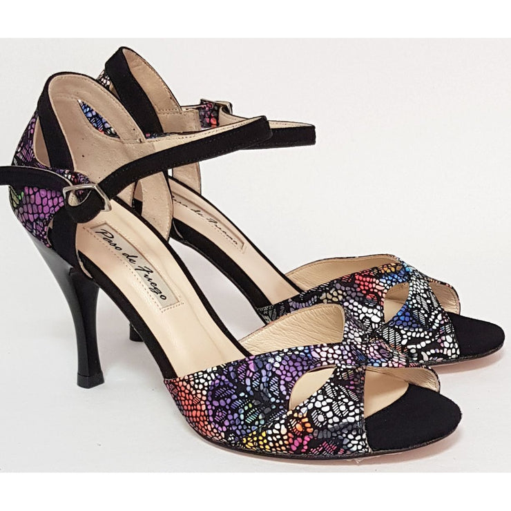 Miramar - Kaleidoscope Leather and Black Suede 50, 60, 70, 80-Paso de Fuego- Axis Tango - Best Tango Shoes