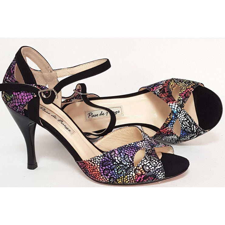 Miramar - Kaleidoscope Leather and Black Suede 50, 60, 70, 80