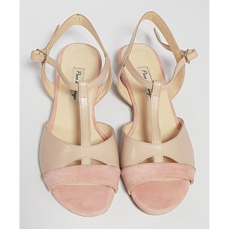 Sarmiento - Nude Leather and Blush Suede 15-Paso de Fuego- Axis Tango - Best Tango Shoes