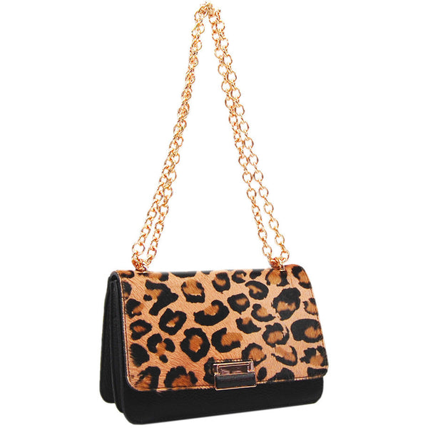 Plinio Visona California Pony Leopard Handbag in Haircalf - GL Shops