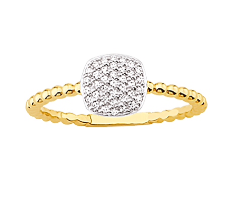 Yellow Gold Plated Bubble Form And Diamonds Ring