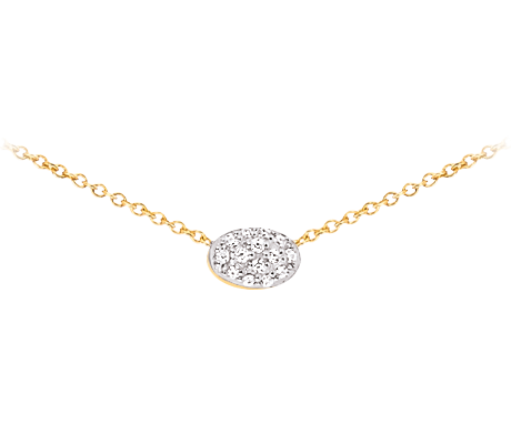 Yellow Gold Oval Pendant With Diamonds Necklace