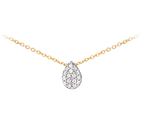 Yellow Gold Teardrop Diamonds Necklace