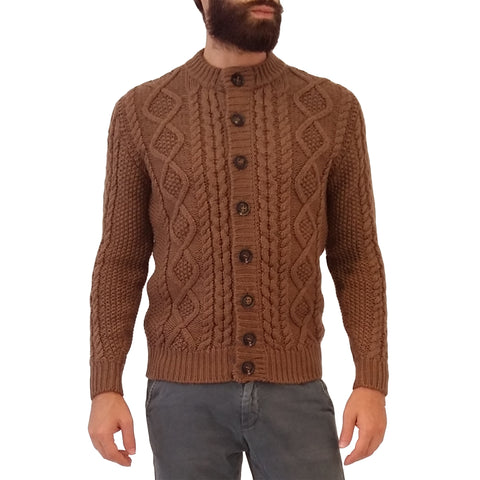 RAKKI Wear Men's Bullit Vintage Merino Wool Cardigan in Brown Tobacco with Buttons - GL Shops