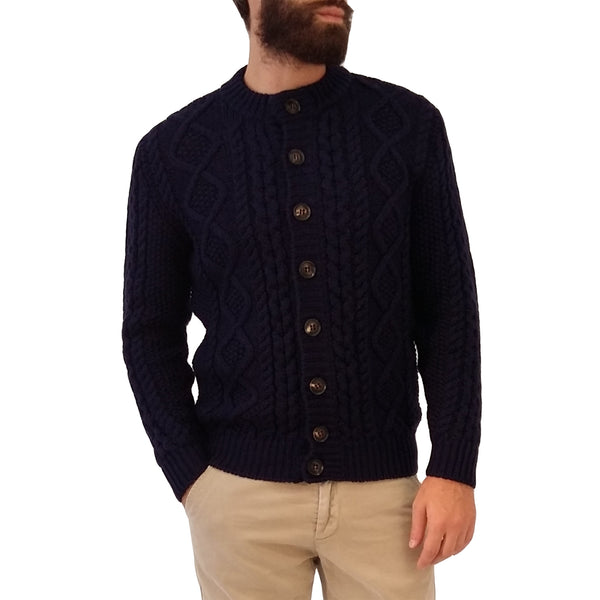 RAKKI Wear Merino Wool Bullit Vintage Cardigan in Blue Night with Buttons - GL Shops