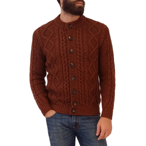 RAKKI Wear Men's Merino Wool Bullit Vintage Cardigan in Burned Brown with Buttons - GL Shops