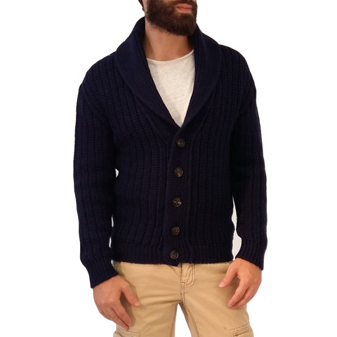 Bullit Vintage Shawl Neck Cardigan in Blue Night