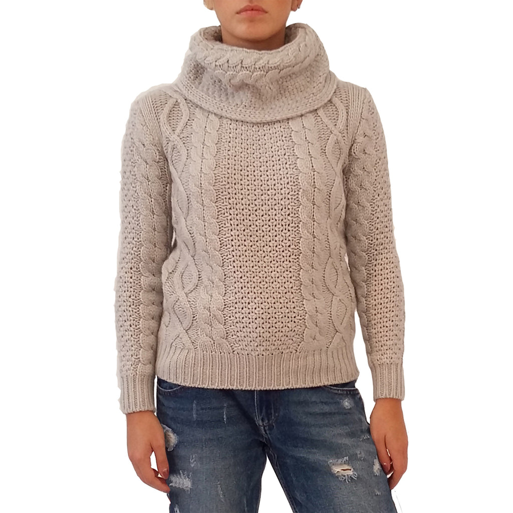 RAKKI Wear Women's  Souffle Knit Cashmere CowlNeck Sweater in White Ice - GL Shops