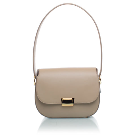Angela Classic Shoulder Bag in Beige