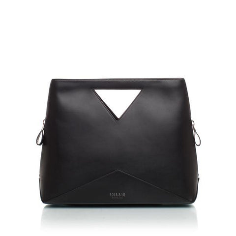 Audrey Trendy Leather Handbag in Black